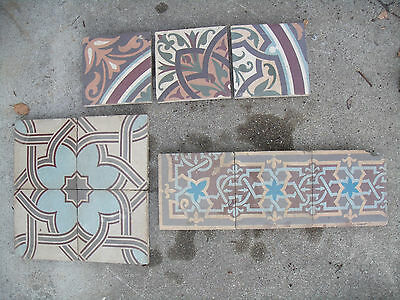 10 RARE Antique Encaustic Ceramic Tiles Assorted Inlaid Pattern Medieval Lot x10