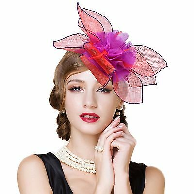 Womens Sinamay Fascinator Cocktail Headband Flower Kentucky Derby Dress Hat T228