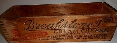 Breakstone'sCREAM CHEESE wood box crate vintage old graphics with cow wooden