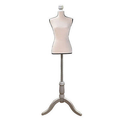 Female Mannequin Torso Clothing Display W/ Tripod Stand White and Black Edge New
