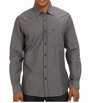 Quiksilver NEW Gray Mens Size Medium M Button Down Striped Shirt $52 #370
