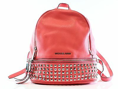 Michael Kors Pink Coral Leather Rhea Studded Backpack Purse Bag $358- #045