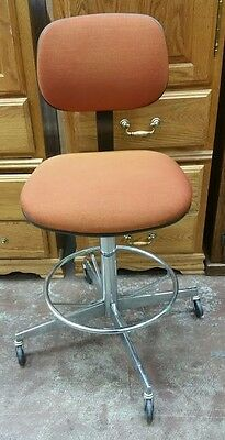 Vintage  Steelcase Industrial Office Chrome Metal Swivel Drafting Chair Stool