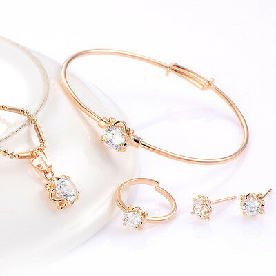 Cute Girls Wholesale Flower Baby Crystal Gold Filled Earring Jewelry set Lots
