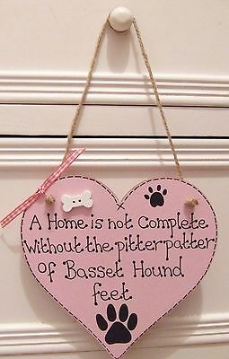 Handmade Personalised Pink Blue Heart Plaque Sign Pet Dog Breed Bone Home Gift