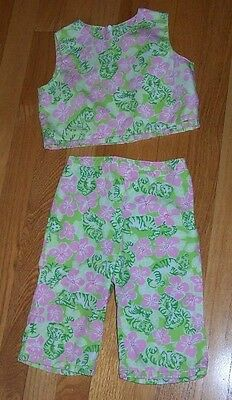 Lilly Pulitzer 2 Pc Outfit Cropped Top & Capri Pants Tiger Print Girls Size 4