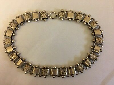 Victorian Antique Sterling Silver Extra Large Ornate Collar Chain Necklace Heavy