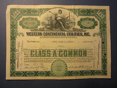 Old Vintage 1931 - WESTERN CONTINENTAL UTILITIES INC. - Stock Certificate