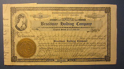Old 1911 - BROADWAY HOLDING COMPANY - Stock Certificate - LOS ANGELES CA.