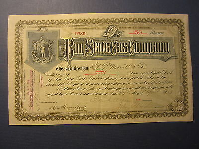 Old Vintage 1908 - BAY STATE GAS COMPANY - Stock Certificate