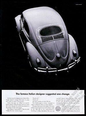 1960 VW Volkswagen Beetle classic car photo One Change suggested print ad