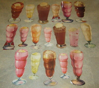 Lot of 18 Old 1950's Vintage Ice Cream FLOATS MALTS Soda Fountain Paper Diecuts