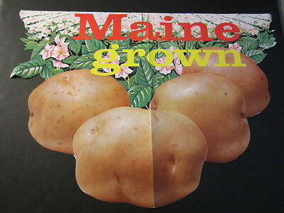 Old Vintage c.1960's MAINE Grown POTATOES Grocery Store SIGN / POSTER
