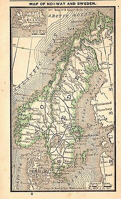 RARE Antique NORWAY and SWEDEN Map 1888 RARE MINIATURE Vintage Map #3684