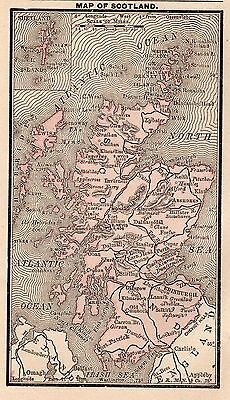RARE Antique SCOTLAND Map 1888 RARE MINIATURE Vintage Map of Scotland #3686