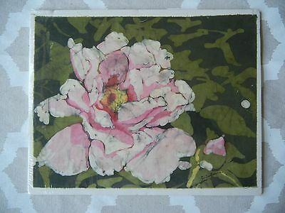 Rose Textile Art - Signed C. Leebesch? -- 11 x 8 1/2 inches