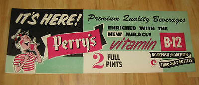 Old Vintage 1950's - PERRY'S - Vitamin B-12 Soda/Drink Advertising SIGN