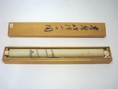 Vintage Japanese Wall Hanging Scroll w/ Wooden Box