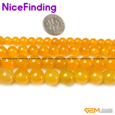 """Natural Yellow Agate Gemstone Round Loose Beads For Jewelry Making Strand 15"""""""