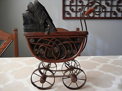 Vintage Antique Doll Baby Carriage Wood, Wicker & Metal