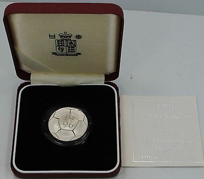 """1996 Great Britain Silver £2 Pound Proof Football """"Soccer"""" with Box & COA"""