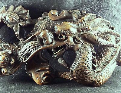 Rare Antique High Detailed Signed Chinese Wood Carving Dragon Sculpture Figure