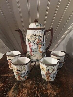 Antique Japanese Vtg Porcelain Tea Set Enameled Design Of Ladies Pot & 4 Cups