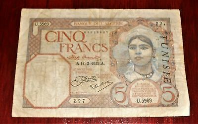 Nice  Tunisia 5 Francs 1933 Bank Note