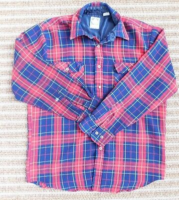 20-9 Vintage Outdoor Exchange Mens Flannel Shirt Sz L Red Long Sleeve Plaid