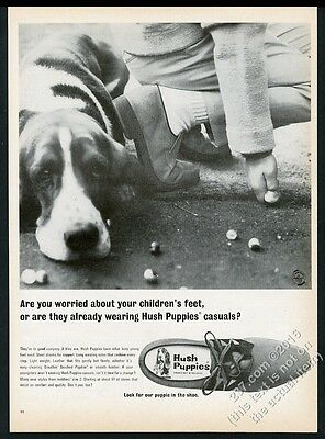 1966 Basset Hound & kids marbles game photo Hush Puppies shoes vintage print ad