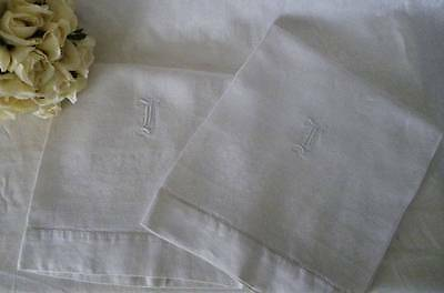 "Lovely Large Pair Monogrammed ""I"" Linen Damask Show~Wash Stand Towels~"