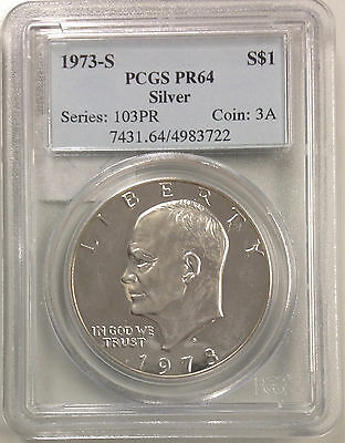 1973 S- Eisenhower Dollar Silver ~ PR 64~ Uncirculated 1$ PCGS CERTIFIED