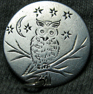 1888 Owl Love Token Seated Liberty Dime Bird Silver Artfully Crafted ---- #N793