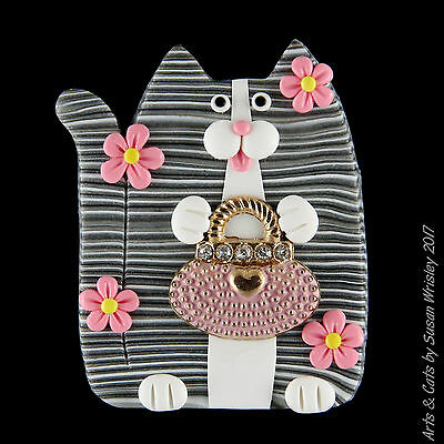 Gray Tabby Kitty Cat,Pink Purse & Flowers Mother's Day Pin - SWris