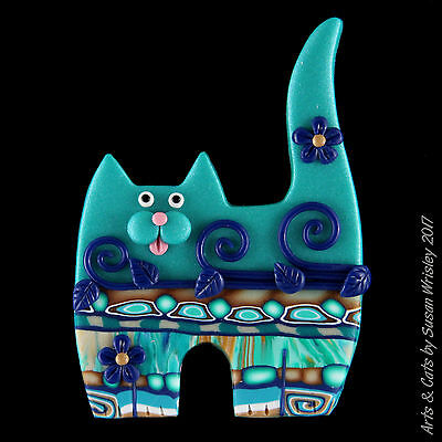 Standing Teal Navy Blue Jazzy Kitty Cat with Swirls & Leaves Pin - SWris