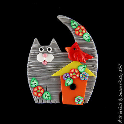 Medium Gray Tabby Kitty Cat, Bird House & Red Bird Pin - SWris