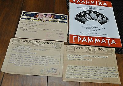 Greece -3 Vintage Western Union Telegrams - Greece Archbishop Michael Of America