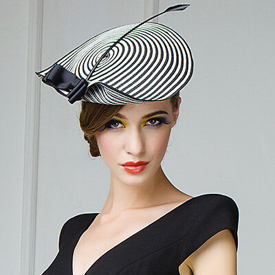 Womens Chic Straw Arrow Fascinator Cocktail Saucer Hat Party Wedding A003