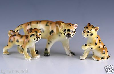 Vintage Miniature Set Ceramic Leopard Mother and Cubs Figurines Made In Japan