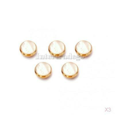 3x 3pcs/Set Gold Plated White Shell Insert Finger Buttons for Trumpet Parts