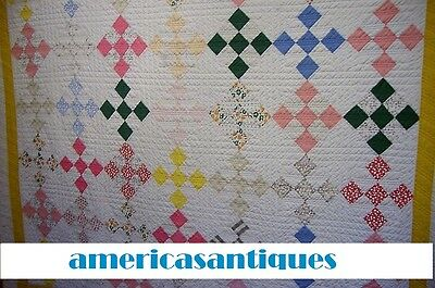 """Antique nine patch quilt cottage  Hand Pieced Hand Quilted 70"""" by 62"""""""