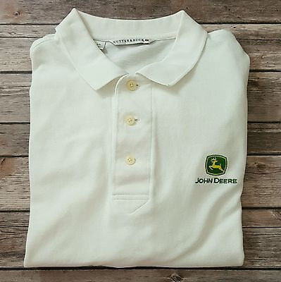 John Deere Tractor Mens Cutter & Buck White Polo Shirt Sz Large