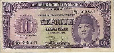 1950 10 Rupiah Indonesia Currency Banknote Note Money Bank Bill Cash Asia Rare