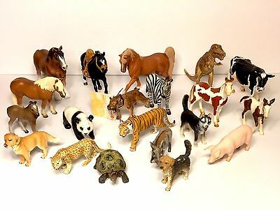 Lot 20 Schleich Animals Horses, Cow, Pig, Turtle, Panda, Dinosaur, 2 With Tags