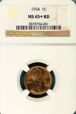 1934 NGC MS65+ Red Lincoln Wheat Cent!! #B6117