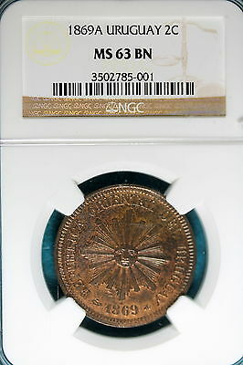1869A NGC MS63 Brown Uruguay 2 Centesimos! #B7033