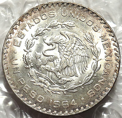 1964 Mexico One Peso Coin. Brilliant Uncirculated 10% Silver. Light Toning. #528