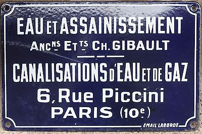 Old French enamel building sign plaque notice gas water supplies Gibault Paris