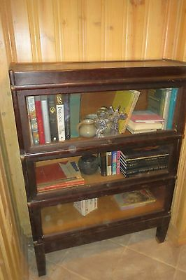 Lawyers Library Bookcase Barrister Antique 3 Tier Cabinet