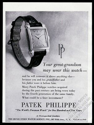 1949 Patek Philippe square man's tank watch vintage print ad